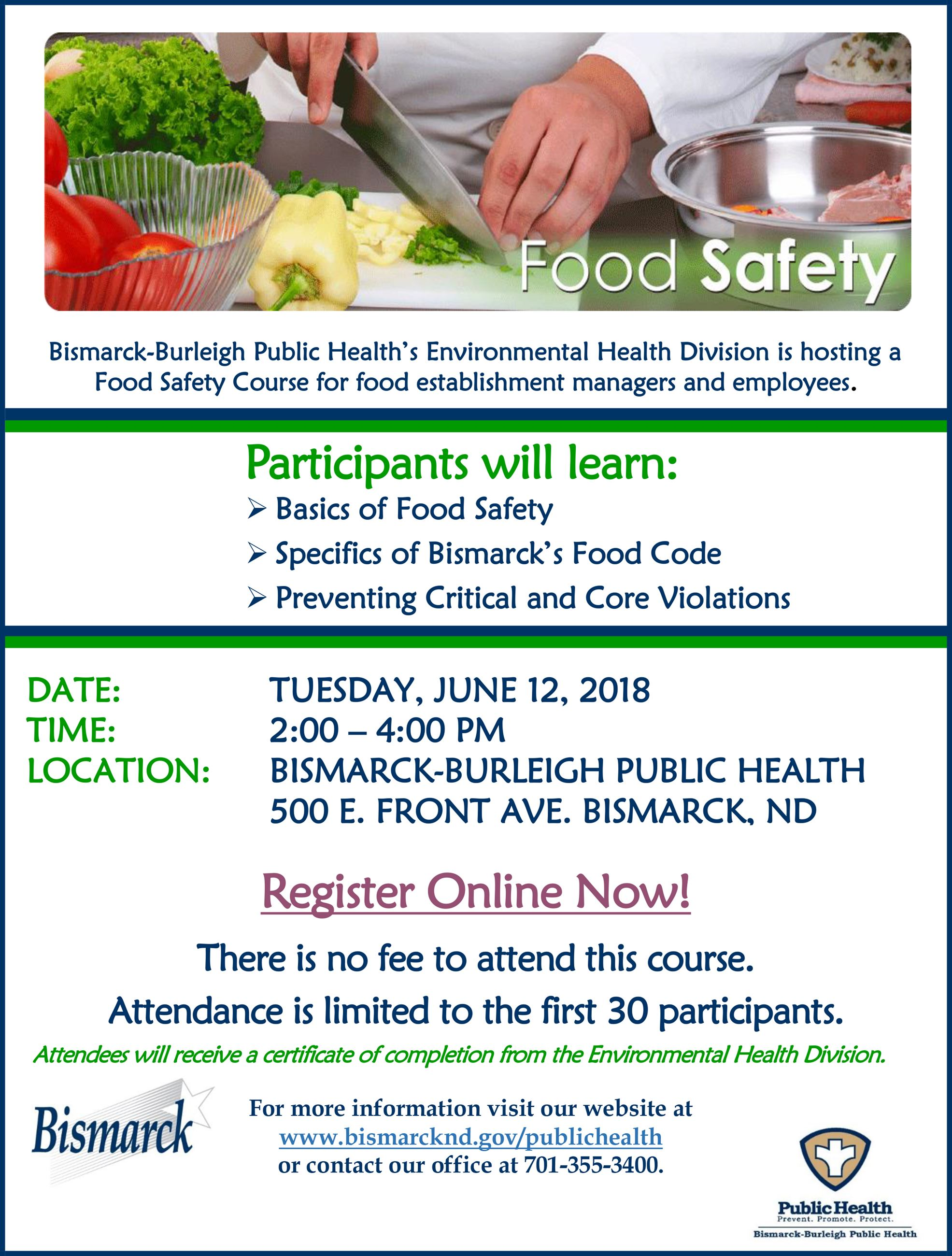 2018.June12.Food.Safety.CourseFLIER