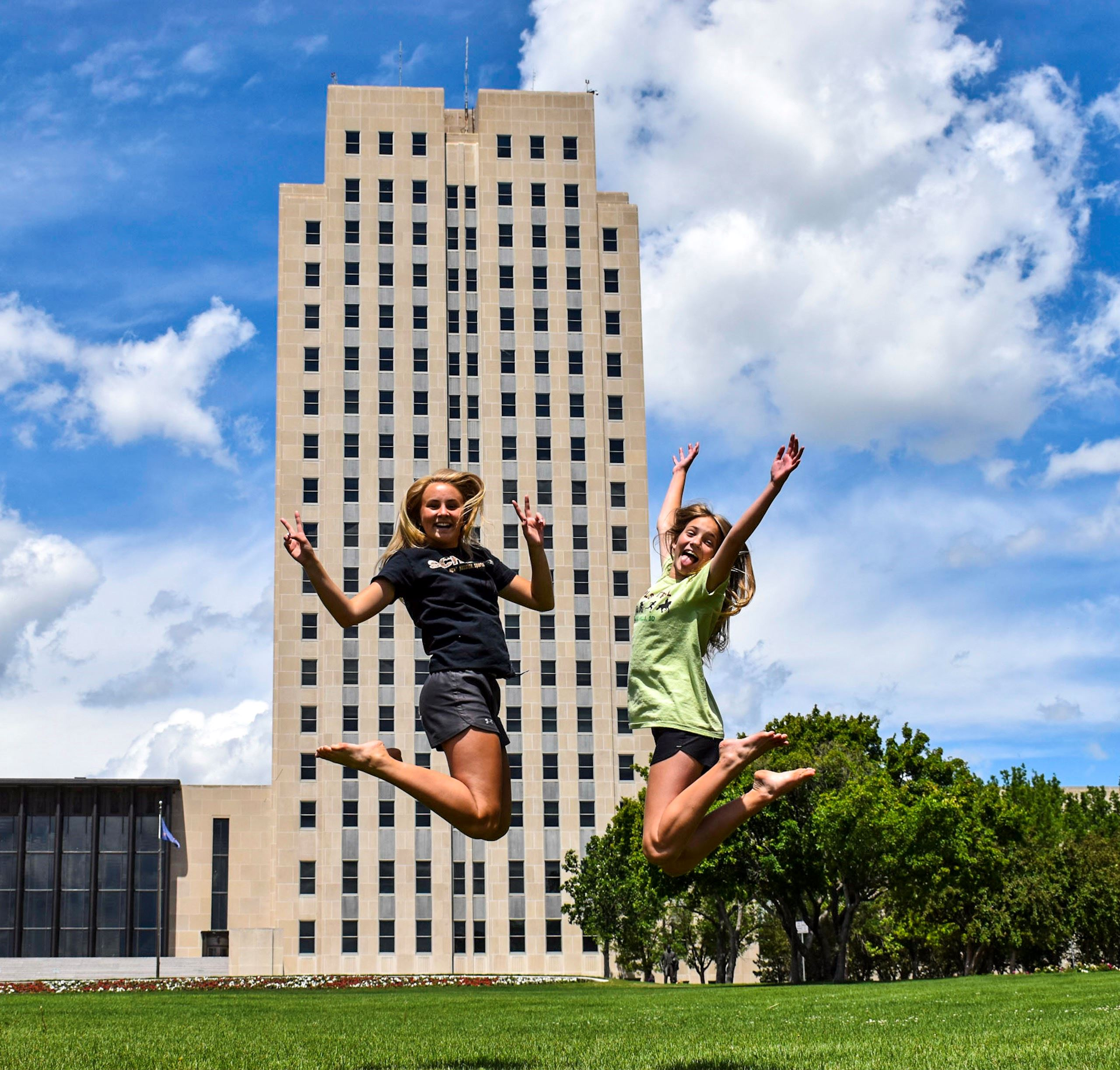 Jumping in front of ND State Capitol