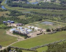aerial view wastewater treatment plant